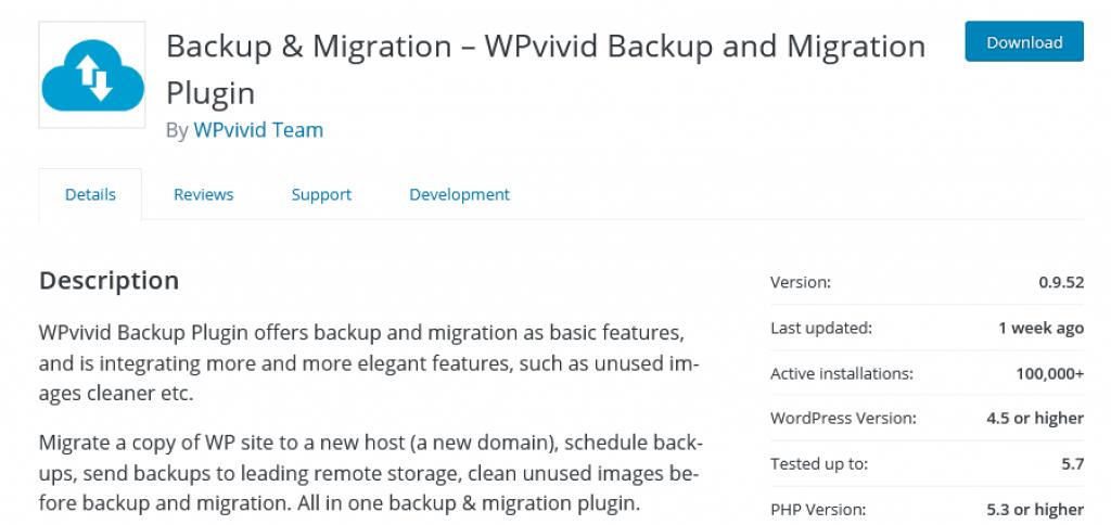 wpvivid backup and migration plugin 1